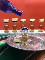 (Set of 12) Mexican Hand Blown Cobalt Blue Tequila Shot Original Artisan