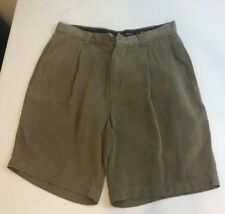 Tommy Bahama Silk Shorts Pleated Casual Brown Size 32 100% Silk