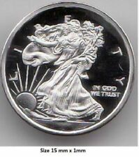 """ WALKING LIBERTY "" - 1 Gram .999 Pure/Silver bullion Art-Round Mini Silver Coin"