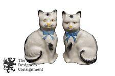 2 Rare 19th Century Staffordshire Ceramic Cat Figures Black and White English