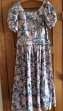 Vintage Laura Ashley Dress Blue Floral Print Misses US 12 UK 14
