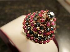 Vintage Retro 14k Solid Gold Basket Pyramid Of Sapphires And Rubies Ring Sz 6.25