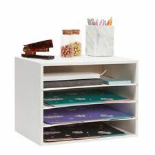 Wooden Desktop Organizer Paper Sorter Tray For Files White 14 X 97 X 102