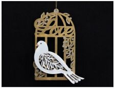 🌟Gisela Graham Large Gold Wooden Love Fretwork Dove In Cage Hanging Xmas Gift