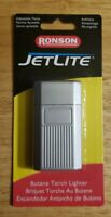 Ronson JetLite Butane Torch Lighter Adjustable Flame Refillable Gray w/Lines-New