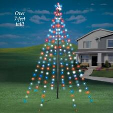 7 ft tall outdoor garden string light christmas tree with star