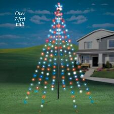 7 ft tall outdoor garden string light christmas tree with star - How To String Lights On A Christmas Tree