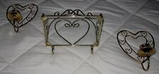 Set of 3=Vintage Wrought Iron Polished Brass & Glass Shelf Heart Candle Sconces