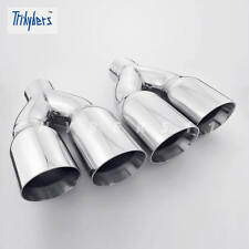 "Pair  2.5"" In Twin 3.5"" Out 12 Long Quad Dual Wall Stainless Steel Exhaust Tips"