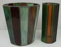Beautiful Vintage Slag Colored Glass Strip Panels Lamp Repair Replacement Crafts