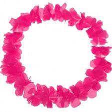 6 Blumenketten Blumenkette Hawaiikette Hawaii Ketten Schrill Pink Blumen-Kette