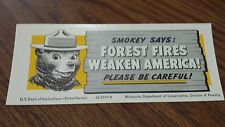 Vintage 1952 Smokey The Bear Forest Fire Prevention Advertising Minnesota