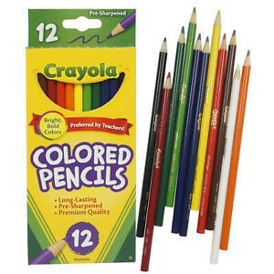 NEW 12 ct Crayola Long Colored Pencils