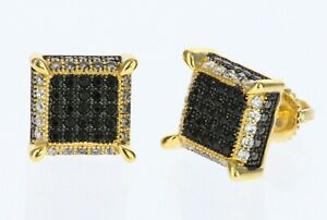 Men Hip Hop 14K Gold Plated Square CZ Micro Pave Earring Screw Back 10.5mm