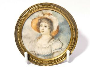 Antique Portrait Miniature of Fine Young Woman Gilt Frame Signed JB Ruyby