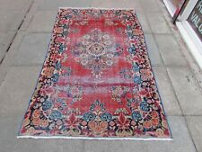 Shabby Chic Worn Vintage Hand Made Traditional Red Wool Large Rug 203x122cm