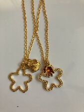 Two Gold Plated Flower Pendants with Frog and Flower Charms Fashion Necklaces