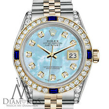 Rolex 26mm Datejust Baby Blue MOP Dial with Sapphire & Diamond Bezel Watch