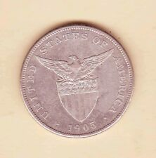 US Philippines 1905-S One Peso Silver Crown , 1 peso Almost Uncirculated/UNC