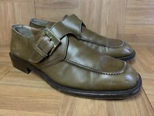 RARE🔥 Salvatore Ferragamo Brown Leather Gold Buckle Slip On Loafer Sz 12 Italy