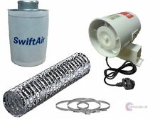 """4"""" In Line Fan Carbon Filter & Duct Kit Hydroponic Grow Room Tent Ventilation"""