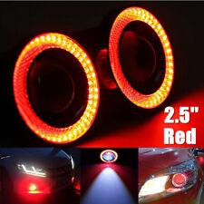 "2x 2.5"" COB LED Fog Light Projector Car Lamp RED Angel Eye Halo Ring DRL Bulb"
