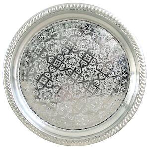 Oriental Silver Platter Tea Tray Side Table Marocco Handmade D38cm
