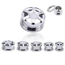 SILVER CAR RIMS Steel Ear Tunnels Piercing Stretchers Plugs Wheel Tyre TU34
