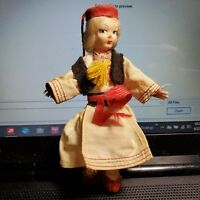 """Vintage Ethnic Boy Doll maybe Hungarian Russian 5"""" Ornament 1950s? OA2B19"""