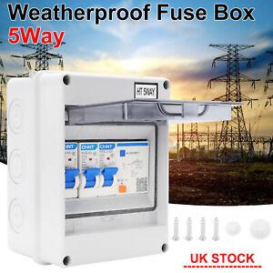 5 Way Weatherproof Fuse Box Garage Consumer Unit Enclosure 2 MCB 16 40A 30mA RCD