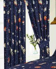 Rideaux et cantonnières bleus prêt à l'emploi en polycoton pour la maison