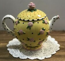 Lovely Mary Engelbreit 1997 Rhapsody Teapot Yellow Pink Floral Polka Dot Handle
