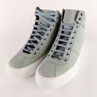 JIMMY CHOO Mottled Light Green Leather Hightop Sneakers Size 45