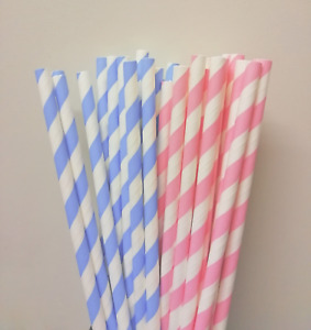 """Baby Pink And White Baby Blue & White Striped No Gender Paper Straws 8"""" (20cm)"""