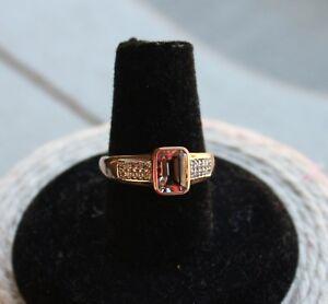 Vintage Natural Pink Morganite & White Zircon 10k Rose Gold Ring, size 7