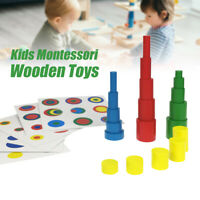 Kids Early Educational Learning Toys Set Wooden Blocks Color Learning Toy @