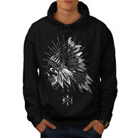 Wellcoda Apache Skull Head Fantasy Mens Hoodie, USA Casual Hooded Sweatshirt