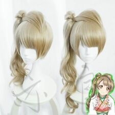 Love Live Kotori Minami Cosplay Wig Clip Ponytail Long Curly Linen Flaxen Wigs