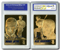DEREK JETER / ALEX RODRIGUEZ NY YANKEES DUAL 2 SIDE 23K GOLD FLIP CARD Graded 10