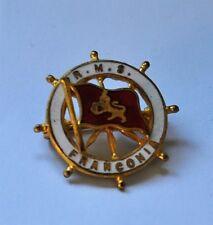 Cunard Line R.M.S. Franconia brass & enamel pin badge