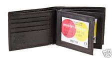 New Dark Brown Mens Bifold Genuine Leather Wallet Secure Multi Pockets id Zipper