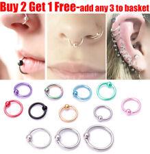 Surgical Steel Ball Closure Ear Nose Ring Eyebrow Daith Hoop Tragus Lip Ring