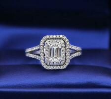 Double Halo Emerald Cut 1.48 CT White Diamond Engagement Ring 925 Solid Silver