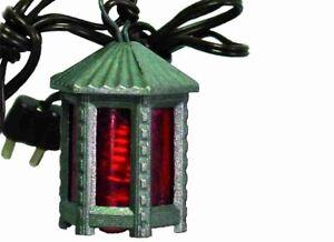 Accessoires de Crèche Éclairage Lanterne Métallique avec Lumière Rouge Haut