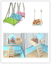 1×Hamster Toys Swing Funny Hanging Gadget Wooden Bird Cage Accessories Toys