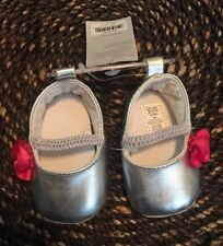 just one you by Carter's Silver Party Shoes Pink Rosette Crib Shoes Newborn