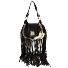 Raviani New Leather Hobo Long Fringe Bag W/Bwn Leather Brindled W/Crystal Concho