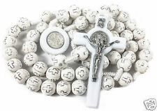 St Saint Benedict Rosary Catholic NR Medal White Crosses Beads Prayer Cross