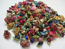Large Assortment Polyester Ribbon Roses Sewing Appliques