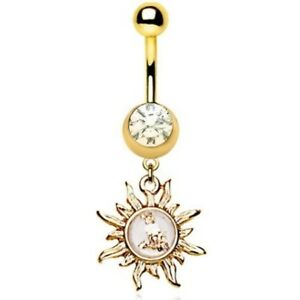 SUN DANGLE WITH FLAKES BELLY RING 14G NAVEL PIERCING (GOLD-TONE 316L STEEL)